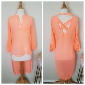 CHARLOTTE RUSSE Neon Coral Strappy Blouse